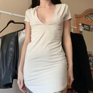 Light Beige Suede Dress